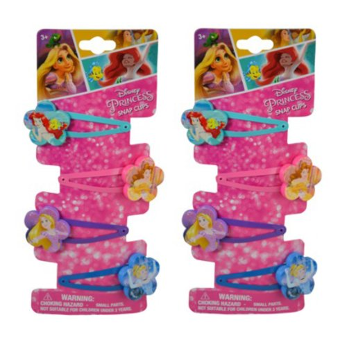 Hair Snap Clips Barrets with Plastic Motifs (8 clips, Disney Princess (Flower Shape))]()