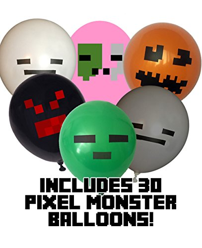 (Pixel Style Hostile Mob Party Balloon Pack (25 count) - 12