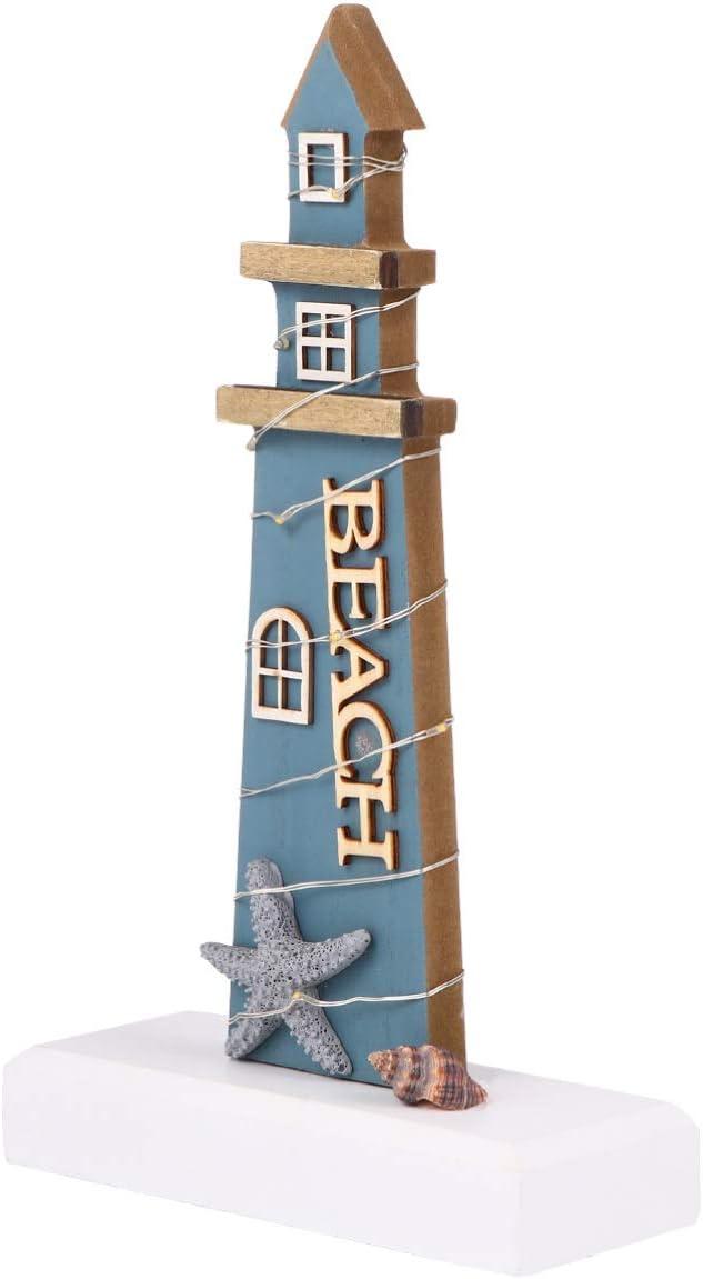 IMIKEYA Wooden Lighthouse Decoration LED Miniature Nautical Light House Mediterranean Tabletop Ornament for Dollhouse Home Office Desk Decor