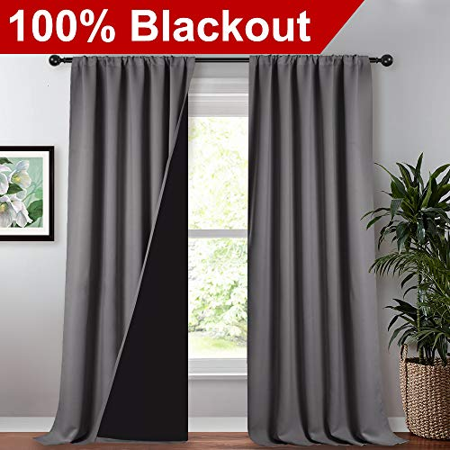 NICETOWN 100% Blackout Blinds, Laundry Room Decor Window Treatment Rod Pocket Curtains for Patio Sliding Door, Extra Long Thermal Insulated Curtains for Villa (Grey, Set of 2, 52-inch x 108 inches)