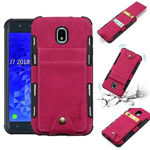 (Ranyi Samsung Galaxy J7 2018 /J7 Refine /J7 Star /J7 Crown /J7 V 2nd Gen /J7 Aura Case, Flip Wallet Hard Back Cover [5 Card Slots] Shock Absorbing Premium Leather Wallet Protective Case (hot Pink))