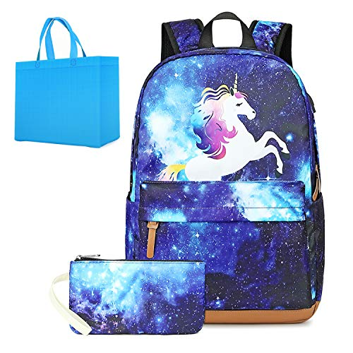 Girls Laptop Backpack with USB Charging Port Galaxy School Backpack with Pencil Bag 2 in 1 Schoolbag Sets for Girls Unicorn Backpack Fits 15.6 inch Laptop (Pineapple A Special Pencil With)