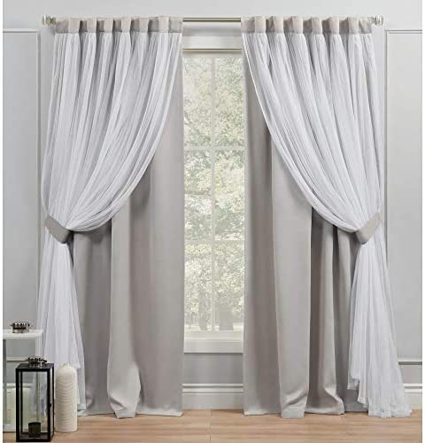 Exclusive Home Curtains Catarina Layered Solid Blackout and Sheer Hidden Tab Top Curtain Panel