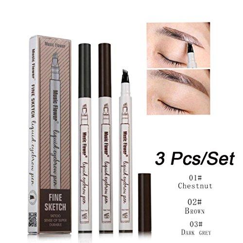 Inverlee 3Pcs Waterproof Eye Brow Eyeliner Eyebrow Pen Penci