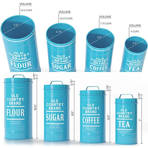 Barnyard Designs Decorative Nesting Kitchen Canister Jars With Lids Teal Metal Rustic Vintage Farmhouse Container Decor For Flour Sugar Coffee Tea Storage Set Of 4 Largest Is 5 5 X 11 25 Pricepulse