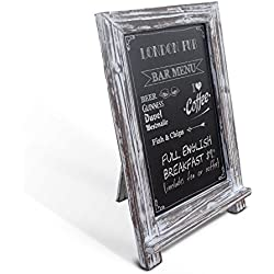 "Rustic Whitewashed Tabletop Chalkboard / Vintage Wedding Table Sign / Small Kitchen Countertop Memo Board / Antique White Washed Wooden Frame (9.5"" x 14"" Inches)"