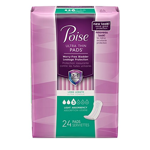 Poise Incontinence Ultra Thins, Long, Light Absorbency, 24 Count (Pack of 6) by Poise