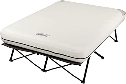 Coleman Air Mattress and Pump Combo | Folding Camp Cot and Air Bed with Side Tables and Battery Operated Pump