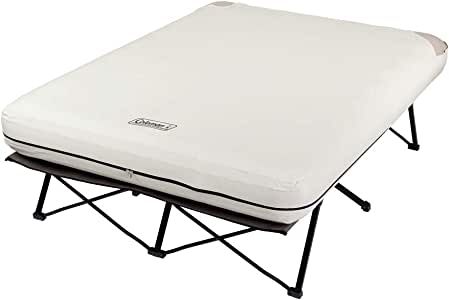 Coleman Camping Cot, Air Mattress, and Pump Combo | Folding Camp Cot and Air Bed with Side Tables and Battery Operated Pump