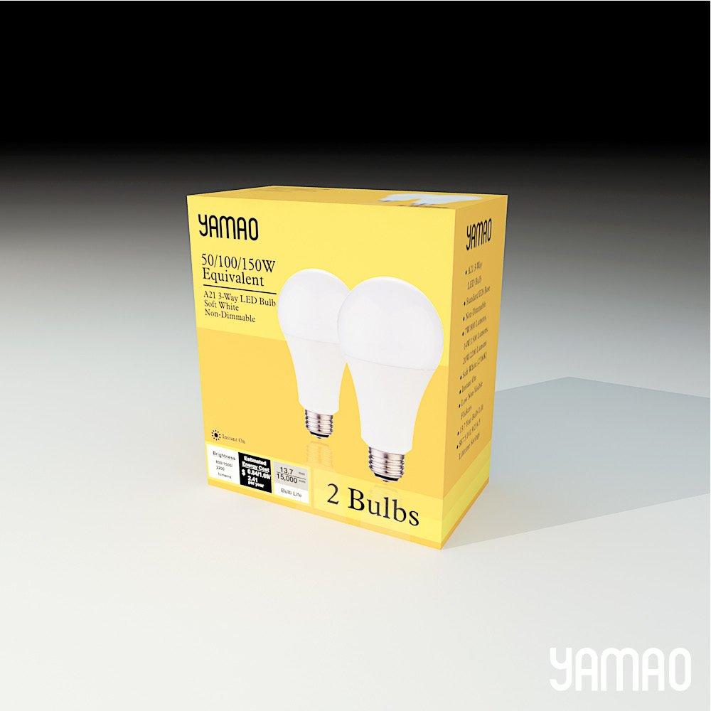 LED Light Bulbs 3-Way 50/100/150W Equivalent YAMAO A21 2700K Soft White Light Bulbs UL Listed 800/1500/2200LM (2 Pack)