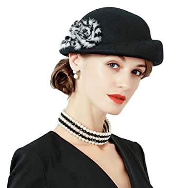 0f632ea3 Winter Beret Hats 100% Wool Felt Bowler Hat with Fur Fedora Solid Color  Hats Black at Amazon Women's Clothing store: