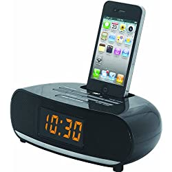 NAXA Electronics PLL Digital Alarm Clock Radio with Dock for iPod/iPhone, Black. Compatible with iphone models 1, 2, 3, 4, 4S.