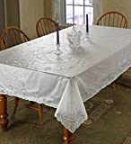 "Vinyl Lace Betenburg Design Tablecloth White 60"" by 104"" Oblong / Rectangle"