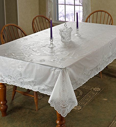 "Violet Linen Vinyl Lace Betenburg Design Oblong/Rectangle Tablecloth, 54"" x 72"", White"