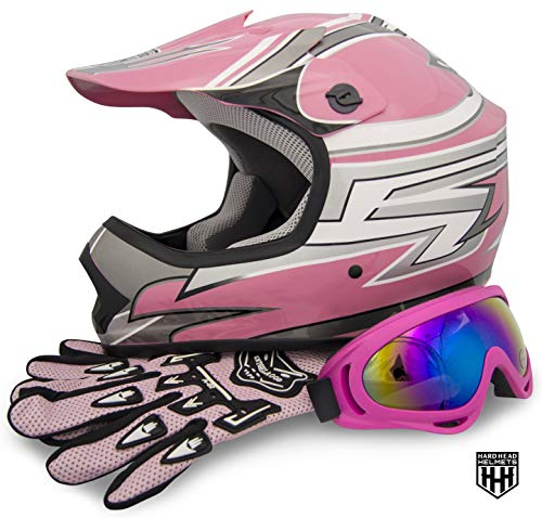 HHH - SmartDealsNow DOT Youth & Kids Helmet Combo for Dirtbike ATV Motocross MX Offroad Motorcyle Street bike Helmet with FREE Goggles and FREE Gloves (one size) (Medium, Pink Stripe)