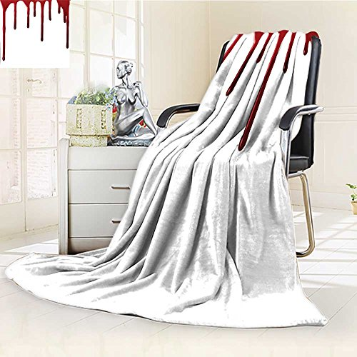 AmaPark Digital Printing Blanket Flowing Blood Spooky Halloween Zombie Crime Scary Help me Themed Red White Summer Quilt -