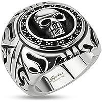 STR-0156 Stainless Steel Skull Shield Wide Cast Biker Ring