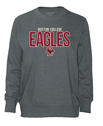Boston College Shirt - Old Varsity Brand NCAA Boston College Eagles Women's Long Sleeve French Terry Polo Shirt, Dark Heather, Large