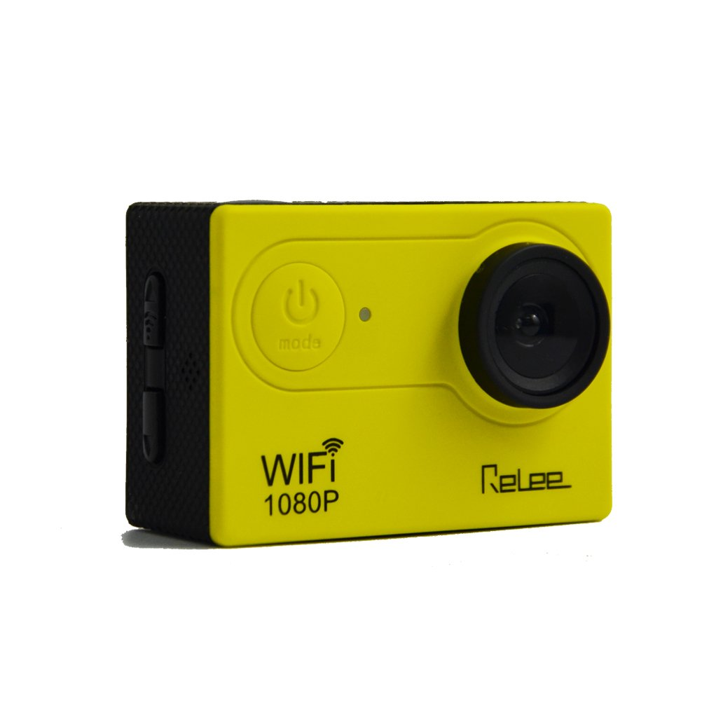 Relee Action Sports WIFI Camera FHD 1080P underwater disposable camera DV Camcorder with 2 PACK BATTERIES and Battery Charger 170 Degree Wide Angle-Yellow Black by Relee
