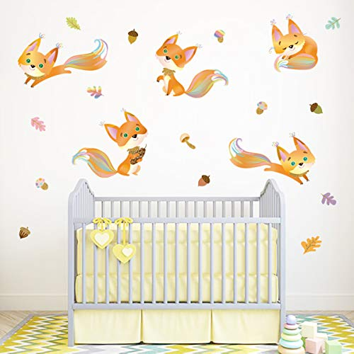 decalmile Fox Wall Stickers Animals Wall Decals Kids Baby Nursery Bedroom Wall Decor (Girl Fox Window Decals)