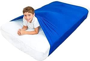 Hoja de cama sensorial para niños Compresión alternativa a las mantas pesadas: ayuda a los niños mayores de 5 años a acomodarse en la noche: ropa de cama cómoda para dormir (Estándar Individual, Azul)