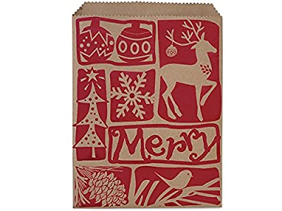"""8-1/2x11"""" Woodcut Christmas PaperMerchandise Bags 35lb (1 unit, 500 pack per unit.)"""