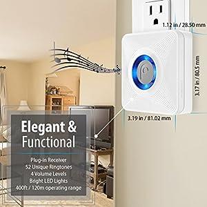 Fosmon WaveLink 51036HOMUS Wireless Door Open Chime (Operating Range - 120M/400FT   52 Chime Tunes   4 Volume Levels   LED Indicators) - 2 Magnetic Door Chime Sensor, 2 Plugin Receiver