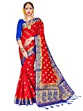 ELINA FASHION Sarees Women Banarasi Art Silk Woven Work Saree l Indian Wedding Traditional Wear Sari & Blouse Piece (Red)