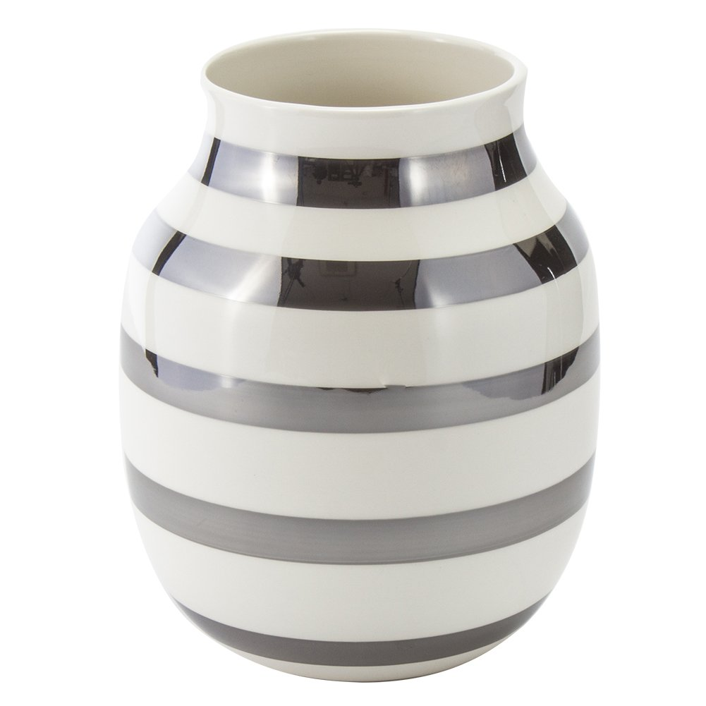 [ ケーラー ] Kahler オマジオ フラワーベース ミディアム 花瓶 陶器 シルバー 15212 Omaggio vase H200 花びん ベース デンマーク 北欧雑貨 おしゃれ ギフト [並行輸入品] B07CNLDNTG シルバー シルバー