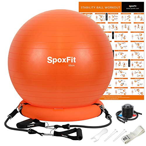 SpoxFit Exercise Ball Chair with Resistance Bands, Perfect for Office, Yoga, Balance, Fitness, Super Strong Holds 660lbs. Set Includes Stable Base, Workout Poster, Pump, Home Gym Bundle-65cm (Best Exercise Ball Chair)