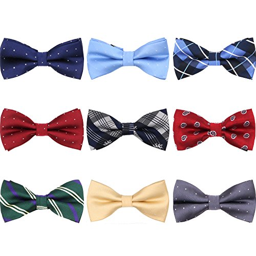 AVANTMEN 9 PCS Pre-tied Adjustable Bow Ties Set for Men Mixed Color Assorted Boy's Ties (9 Pack, Style 6)