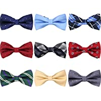 AVANTMEN 9 PCS Pre-tied Adjustable Men's Bow Tie for Boy in Gift Box Mixed Color Assorted Ties
