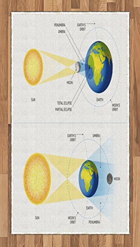 Educational Area Rug by Ambesonne, Solar and Lunar Eclipse Planet Earth Sun Moon Orbit Astronomy Science, Flat Woven Accent Rug for Living Room Bedroom Dining Room, 2.6 x 5 FT, Blue Green Mustard by Ambesonne