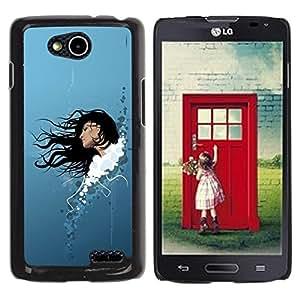 Be Good Phone Accessory // Dura Cáscara cubierta Protectora Caso Carcasa Funda de Protección para LG OPTIMUS L90 / D415 // Woman Brunette Art Long Hair Portrait Sky