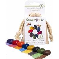 Crayon Rocks Soya-waxstiften voor kinderen, niet-giftig, stiftgreep stimulerend, duurzaam krijt in een mousselin-zakje, 8 natuurlijke wasbare kleuren, tekenen op papier en stof