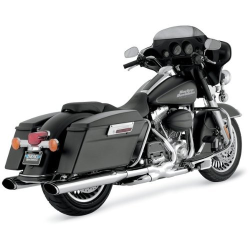 Vance & Hines Chrome Oval Twin Slash Slip-On Mufflers For Various Harley Davidson Models ( See Specifications For Exact Fitments ) - 16767 ()