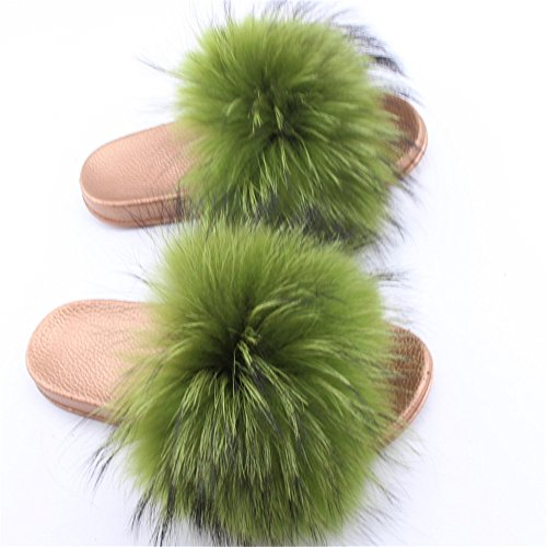Raccon green Real Open Fur Toe Slippers Gold Women's Slide qmfur PIzwqfx7