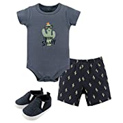 Hudson Baby 3 Piece Bodysuit, Short, Shoe Set, Cactus, 0-3 Months