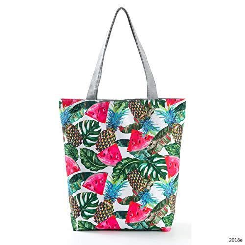 Bag Bag Top Girls Shoulder Handbag Nawoshow Tote Handle Women Canvas amp;watermelon Pineapple Shopping 0WqncfHc