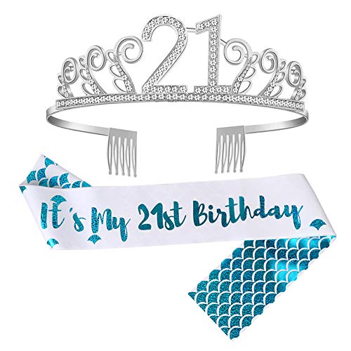 OurWarm 21st Birthday Sash and Crown for Happy Birthday Party Supplies Decorations, 21 Glitter Mermaid Birthday Sash | Rhinestone Birthday Tiara | Cake Topper -