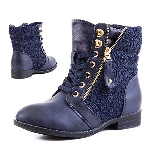 Stylische Damen Stiefeletten Worker Boots Spitze in hochwertiger Lederoptik Dunkelblau
