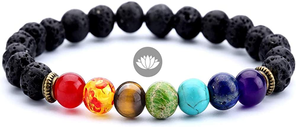 Crintiff - 7 Chakra healing bracelet - Chakra lava volcanic stone bracelet, Stress Relief Yoga and Essential Oil Diffuser. Elastic Bracelet Bangle for women and men, 8mm Beads