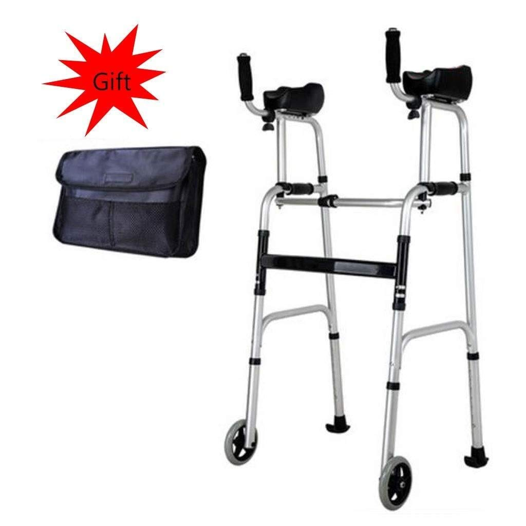 Folding Lightweight Aluminium Walking Frame with Wheels, Ergonomic Handle and Handbag Walking Mobility Aid Auxiliary Walking Safety Walker (Color : with arm Drag)