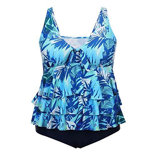 FeelinGirl Bikini Tankini Bademode Badeanzug Damen Plus Size Blumenmuster Swimsuit Retro Vintage High Waist Bikini Set Übergröße Oversize Swimwear Bauchweg Himmelblau i9eyoE