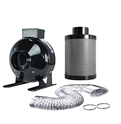 """TopoGrow 4"""" 6"""" 8"""" High CFM Inline Fan&Carbon Air Filter & Muffler& Fan Filter Combo for Grow Tent Kit and Hydroponic Growing"""