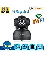 Sricam Cámara IP 720P ONVIF Cámara IP inalámbrica para Interiores Pan/Tilt P2P Vista remota con 10 Metros Compatibilidad con visión Nocturna Detección de Movimiento/Audio bidireccional (Blanco-SP012)