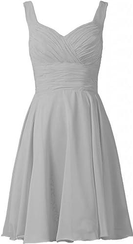 ANTS Women's V-neck Chiffon Bridesmaid Dresses Short Prom Gown