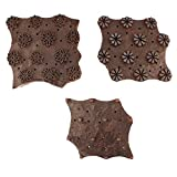 IndianShelf Handmade Set of 3 Piece Brown Wooden Paper Printing Stamp Textile Canvas Fabric block