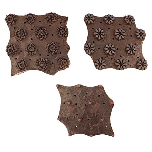 IndianShelf Handmade Set of 3 Piece Brown Wooden Paper Printing Stamp Textile Canvas Fabric block by Indian Shelf