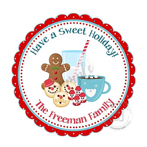 Printable Custom Gingerbread Cookie Candies Tagsholidays Wishes Personalized Tags Stickers 2.5 Inches with 15Pcs ()